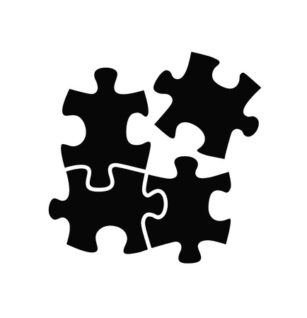 piezas de puzzle: vector rompecabezas icono negro sobre fondo blanco