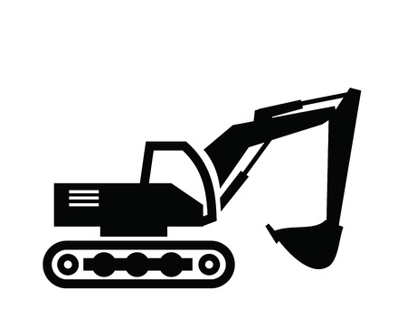 digger: vector black Excavator icon on white background