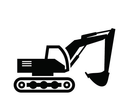 maquinaria pesada: vector icono Excavadora negro sobre fondo blanco