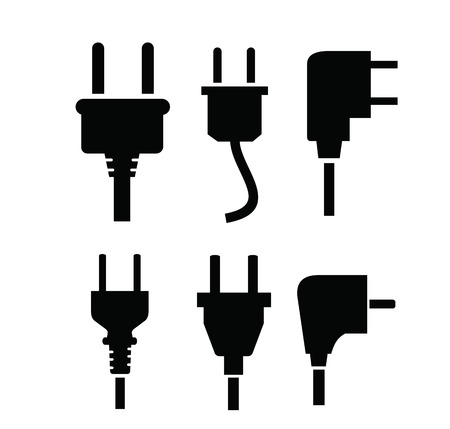 electric: vector black electric plug icon on white background Illustration