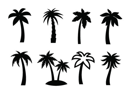 tree silhouettes: palm icon Illustration