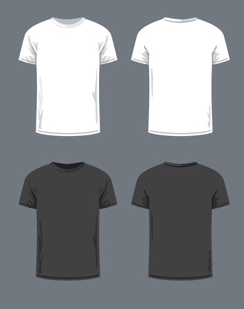 shirts: vector black T-shirt icon on gray background Illustration
