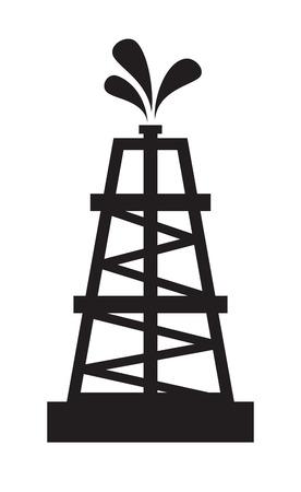 vector black illustration of Oil rig on white