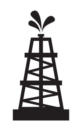 vector black illustration of Oil rig on white