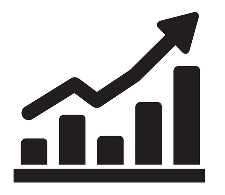 vector black illustration of graph icon on white