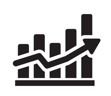 sales chart: vector black illustration of graph icon on white