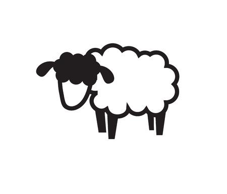 vector black illustration of sheep icon on white