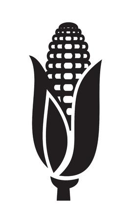 白い背景の上のベクトル黒トウモロコシ アイコン