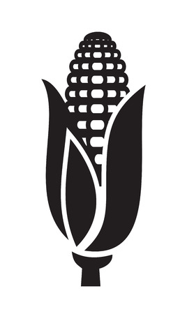 ear of corn: vector black corn icon on white background