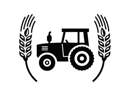 transportation silhouette: vector black Tractor icon on white background