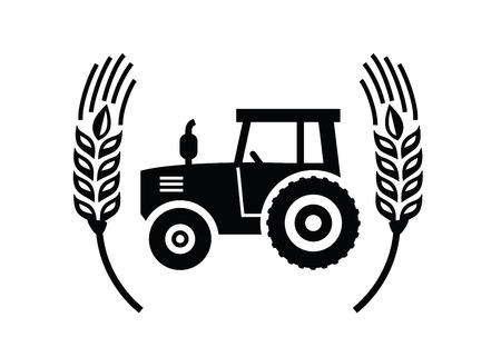 granja: vector icono Tractor negro sobre fondo blanco Vectores