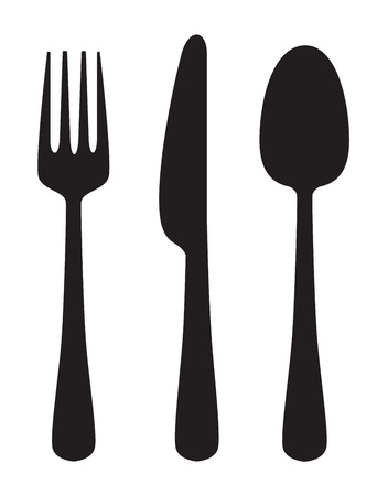 vector black illustration of Knife, fork and spoon on white
