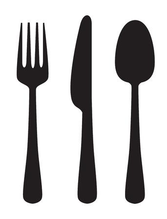 Vektor schwarz Illustration von Messer, Gabel und Löffel auf weißem