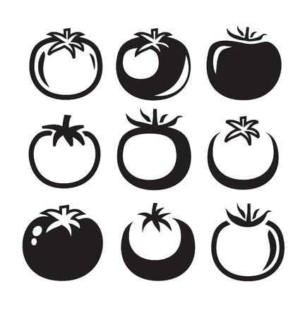tomatoes: vector black illustration of tomatoes icon on white