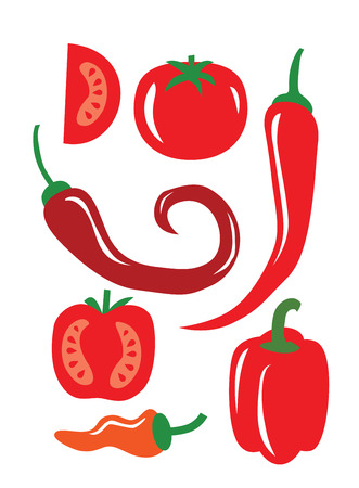 elements of nature: vector color illustration of Chili Pepper on white