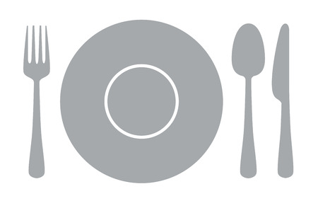 dining set: vector gray illustration of Knife, fork and spoon on white