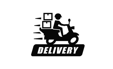 vector black illustration of Free delivery on white