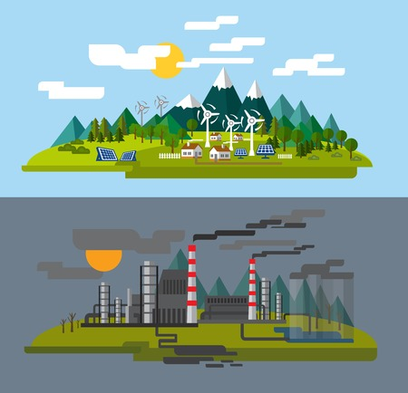 urban jungle: farm and factory Illustration