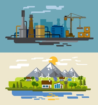 farm and factory Illustration