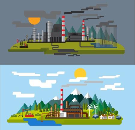 factory farm: farm and factory Illustration