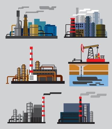 Fábrica de edificios industriales Ilustración de vector