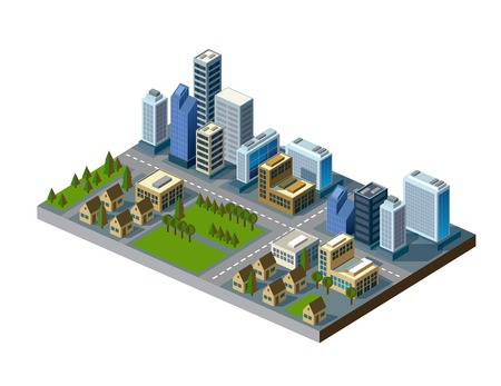 residential neighborhood: isometric city