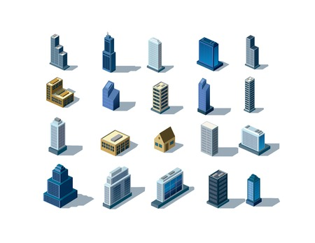 isometric buildings Ilustração