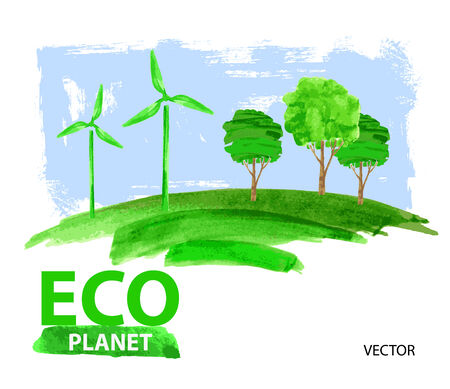 vector green eco living concept planet illustration