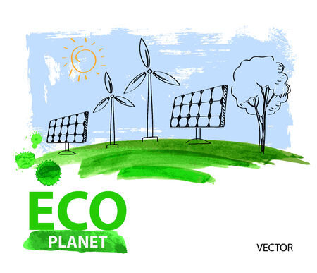 paintbrush spray: vector green eco living concept planet illustration
