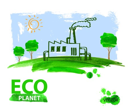 natural energy: vector green eco living concept planet illustration
