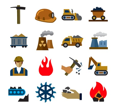 coal fire: coal mining industry icons