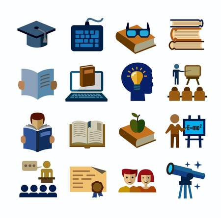 computer science: higher education icons Illustration