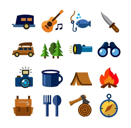 camping theme Vector
