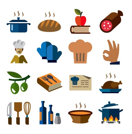 wine book: vector color kitchen icons set on white Illustration
