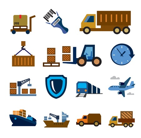 loading dock: vector color logistic and shipping icon set on white Illustration