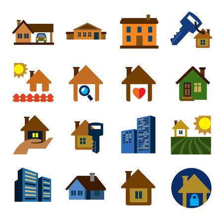 sold small: vector color real estate icons set on white Illustration