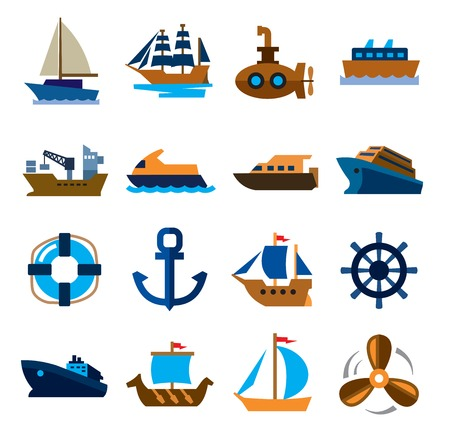 brigantine: vector color boat and ship icons set on white