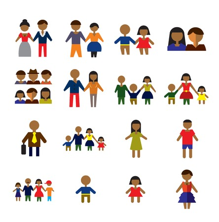 father of the bride: vector color people icons on white background Illustration