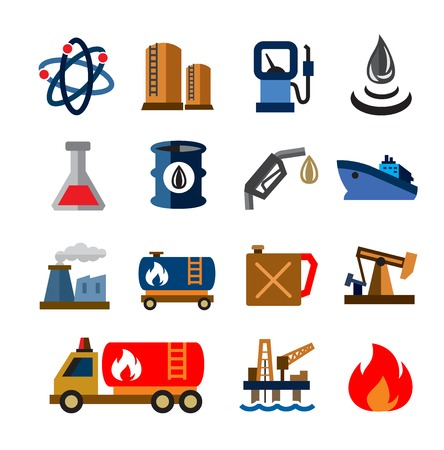 flaring: vector color oil and petrol icons on white background Illustration