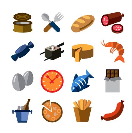 airtight: vector color food icons on white background