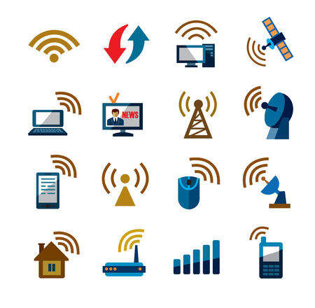 signal strenght: technology icons Illustration