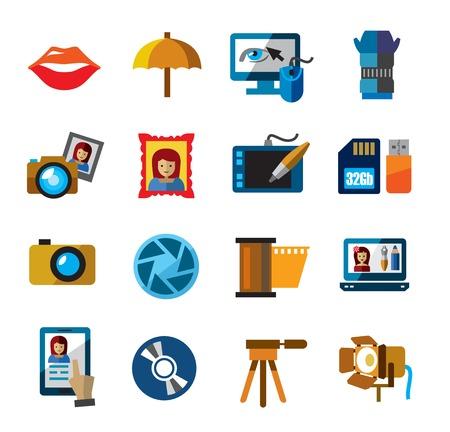 dslr camera: photo icons Illustration