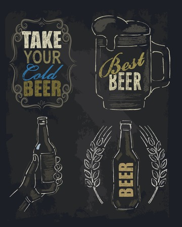 blackboard background: chalk beer Illustration