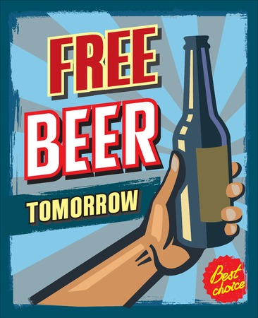 beer label design: free beer tomorrow poster