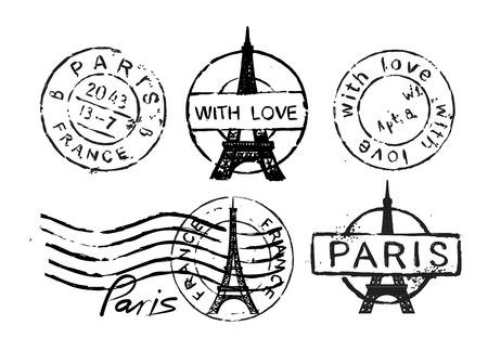 Tour Eiffel timbre Banque d'images - 37196405
