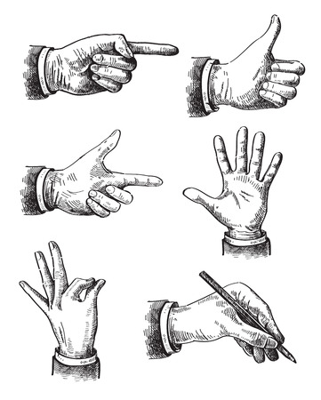 xilografia: Ilustración de la mano Vectores