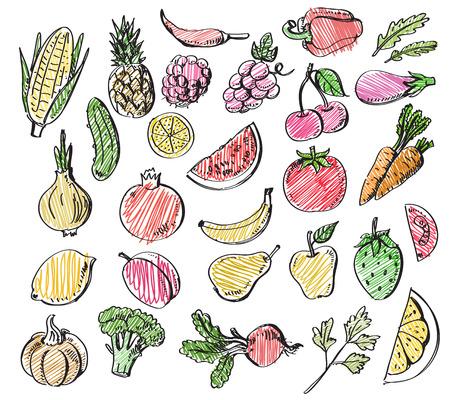 手描きの果物や野菜