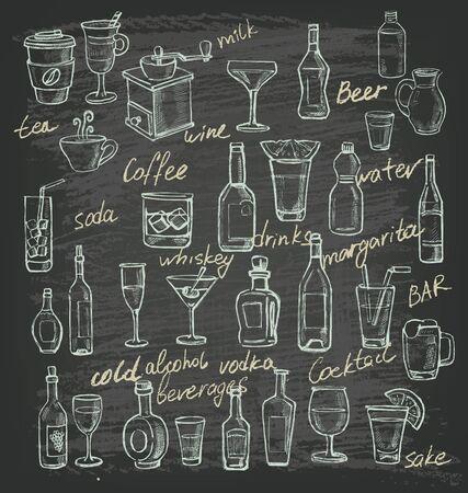 ilustración dibujados a mano vector de bebidas en negro