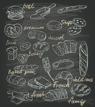 toast bread: vector hand drawn illustration of bread on black
