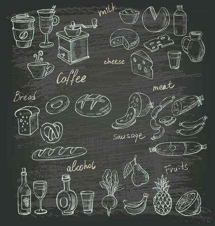 vector hand drawn illustration of food on black Ilustração